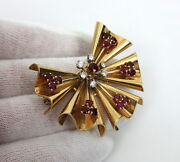1950andrsquos 2.0ct Vivid Pigeonandrsquos Blood Ruby And 0.50ct Diamond 14k Gold Ribbon Fan Pin