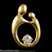 Mother Child Silhouette Pendant With 1/4ct Round Diamond In 14k Yellow Gold