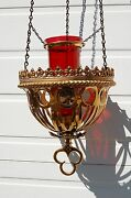+ Old Vintage Hanging Sanctuary Lamp W/red Glass Globe 244 + Chalice Co.