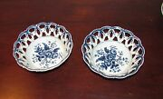 Antique Pair Dr Wall Worcester Reticulated Baskets Pine Cone Pattern 18th