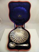 Silver Hm Sheffield 1903/04 Pierced Scalloped Shell Dish And Spoon In Case