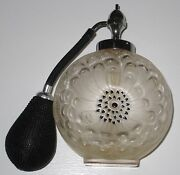 Beautiful Lalique Frosted Crystal Dahlia Perfume Bottlewith Atomizer 6 Tall