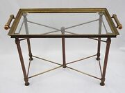 Antique 1930's French Art Deco X Base Brass Butler Table And Serving Tray