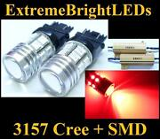 Two Brilliant Red 3156 3157 Cree Q5 + 12-smd Turn Signal Lights + Load Resistors