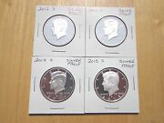 2012 S 2013 S 2014 S 2015 S Silver Proof Kennedy Half Dollar 4 Coin Lot Set