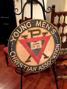 Rare Antique Vintage Ymca Hand Painted Advertising Sign