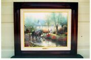 Thomas Kinkade Framed S/n Sunday Outing Canvas Rare Low Cost