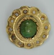 Antique 18c Handmade 18k Gold With Cabochon Jade And Rough Cut Diamonds Pin Brooch