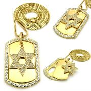 Mens Hip Hop Gold 6 Point Star David Dog Tag Pendant Box Chain Necklace