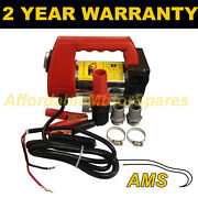 12v Portable Electric Fuel Diesel Transfer Pump Clip On Battery