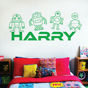 Personalised Name Children Wall Art Sticker - Toy Robots