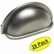 25 Pack Cosmas Cabinet Hardware Antique Silver Cup Handles Pulls 4310as