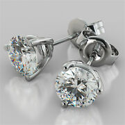 Martini Style Round Cut Stud Earrings Available In 14k 18k And Platinum