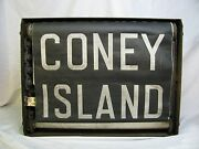 Vintage 1920 Destination Roll Subway Nyc Queens Brooklyn Coney Island Sign