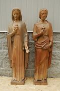 + Antique Wood Carved Statue Of St. Joseph + 55 Tall + Shipping Available