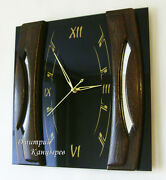 Hot New Large Wall Clock 3d Home Room Office Decor Black Glass Wood Grand Modern