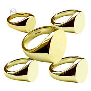 18ct Solide Or Jaune Marque Page Anneaux Ovale 750 Gb Poinandccedilonnandeacutee Famille Crest