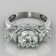 3.16ct Round Cut Engagement Ring 14k White Gold With Optional Matching Band