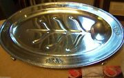 Massive Silver Meat Carving Serving Tray Footed Elegant Art Deco Classical Style