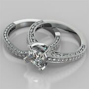 2.19ct Princess Cut Engagement Ring And Matching Band Available In 14k White Gold