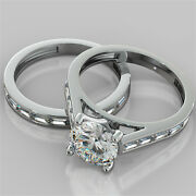 2.85ct Round Cut Engagement Ring And Matching Band Available In 14k White Gold