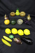 Vintage Lot Of 18 Murano Style Hand Blown Art Glass Scale Fruits And Vegetables