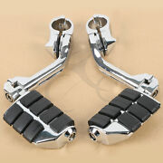 Chrome Long Highway Foot Pegs Fit For Harley Road King Street Glide 1-1/4 Bars