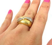 Vintage French 1.0ct Diamond And 18k Yellow Gold Florentine Hand Carved Dome Ring