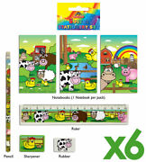 6 Farm Animal Stationery Sets - Toy Loot/party Bag Fillers Wedding/kids