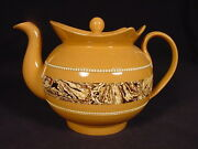 Very Rare C1800 Agate Decorated Teapot With Lid Mocha Mochaware Yellow Ware