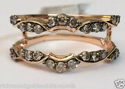 Solitaire Enhancer Round Champagne Diamonds Ring Guard Wrap 14k Rose Gold Jacket