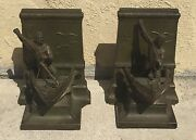 Antique Bronze Jb Jennings Brothers Book Ends A Dead Whale Or A Stove Boat