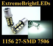 Two Hid Xenon White 1156 7506 Smd Led Backup Lights