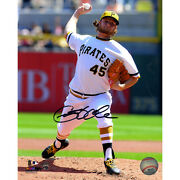 Gerrit Cole Signed Pittsburgs Pirates In White Uniform Pitching 8x10 Photo