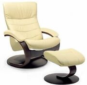 Fjords Trandal Leather Recliner Chair With Ottoman By Hjellegjerde Living Room