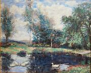 The Duck Pond By Jose Lopesalcedo - Original Oil Painting