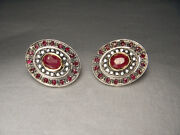 Magnificent Antique 14k Pink Gold Rose Cut Diamond Ruby Earrings