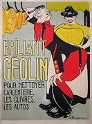 Roubille Old Adveritising Poster Car And Metal Polish - Brillant Geolin Ci 1900