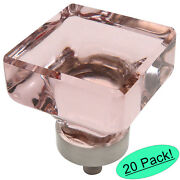 20 Pack Cosmas Satin Nickel And Pink Glass Square Cabinet Knobs 6377sn-p