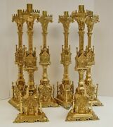 + Set Of 6 The Worlds Best Ornate Gothic Altar Candlesticks 24 + Church + 80