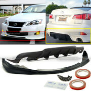 For 06-08 Is250 Is350 F Sport Style Pu Front Lip And Rear Diffuser Bumper Body Kit