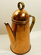 Vtg Copper And Brass Handle Teapot Or Coffee Pot Hinged Lid 8.75 Tall