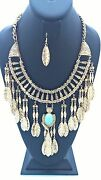 Gold And Turquoise Dangling Leaf Fashion Necklace Set