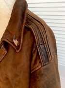 90's Vintage Avrex True Distressed Brown Leather A-2 Us Airforces Bomberjacket L