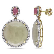 14k Yellow Gold Sapphire And 3/4 Ct Tdw Diamond Earrings G-h Si1-si2
