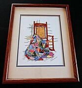 Vintage Patchwork Quilt Country Porch Rocking Chair Counted Cross Stitch Framed