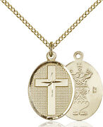 14k Gold Filled Cross Air Force Military Soldier Catholic Medal Necklace