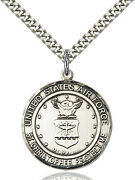 Men's Sterling Silver Air Force St Christopher Military Catholic Medal Necklace