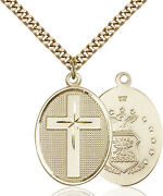 Menand039s 14k Gold Filled Cross Air Force Military Soldier Catholic Medal Necklace