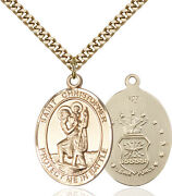 14k Gold Filled St Christopher Air Force Military Catholic Medal Necklace